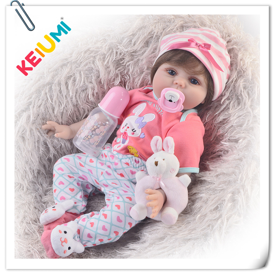 KEIUMI 2018 Wholesale DIY Toys Soft Silicone Reborn Baby Dolls 55 cm Baby Girl Playmates Lifelike 22'' Doll Baby Alive Princess lovely lifelike 55 cm reborn baby doll with flower clothes soft silicone fashion dolls hair rooted reborn baby kits playmates