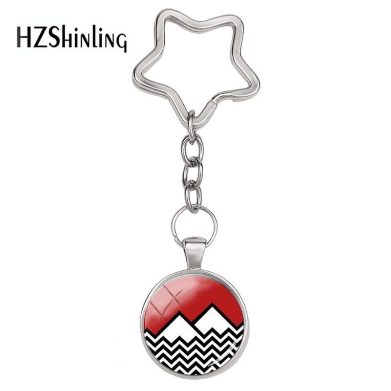 2018 New Fashion Twin peaks Star Keychain David Lynch movie Jewelry Glass Cabochon Stainless Steel Key Chain Hot Jewelry image