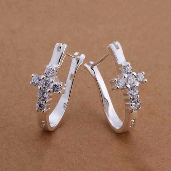 Silver color fashion charm creative female models wedding luxury crystal stone crosses earrings wedding jewelry E311