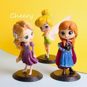 Image 2 - Disney Q posket Bambola Della Principessa Ariel Alice Wonder Woman Harley Quinn Elsa Anna Figure toy dolls Cake Topper decorazione Della Torta partito