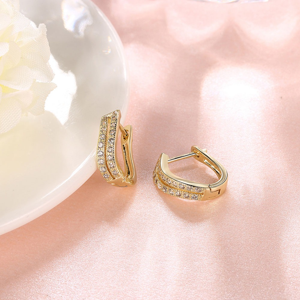 Brand Gold colour Crystal Horse shoe Hoop Earrings For Women ...