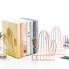 2PCS/Pair Creative Cactus Flamingo Love Shaped Metal Bookends Desk Organizer Storage Holder Shelf Iron Support Holder For Books