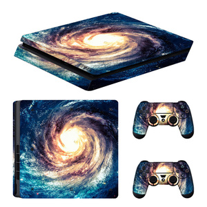 Image 2 - blue Starry Sky Star Console Skin Cover For Playstation 4 Slim Console PS4 Slim Skin Stickers Controller LED Protective