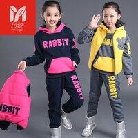 아시아 아동 겨울 플러스 두꺼운 어린이 스웨터 겨울 스포츠 정장 여자 2017 새로
