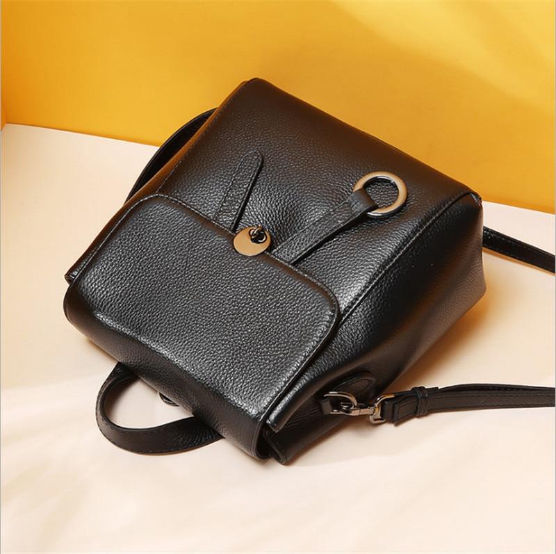 2019 Anti theft projekt 100% naturalna skóra bydlęca kobiet plecak czarny Preppy nastoletnie torebki szkolne dla dziewcząt kobiet Back Pack w Plecaki od Bagaże i torby na  Grupa 3