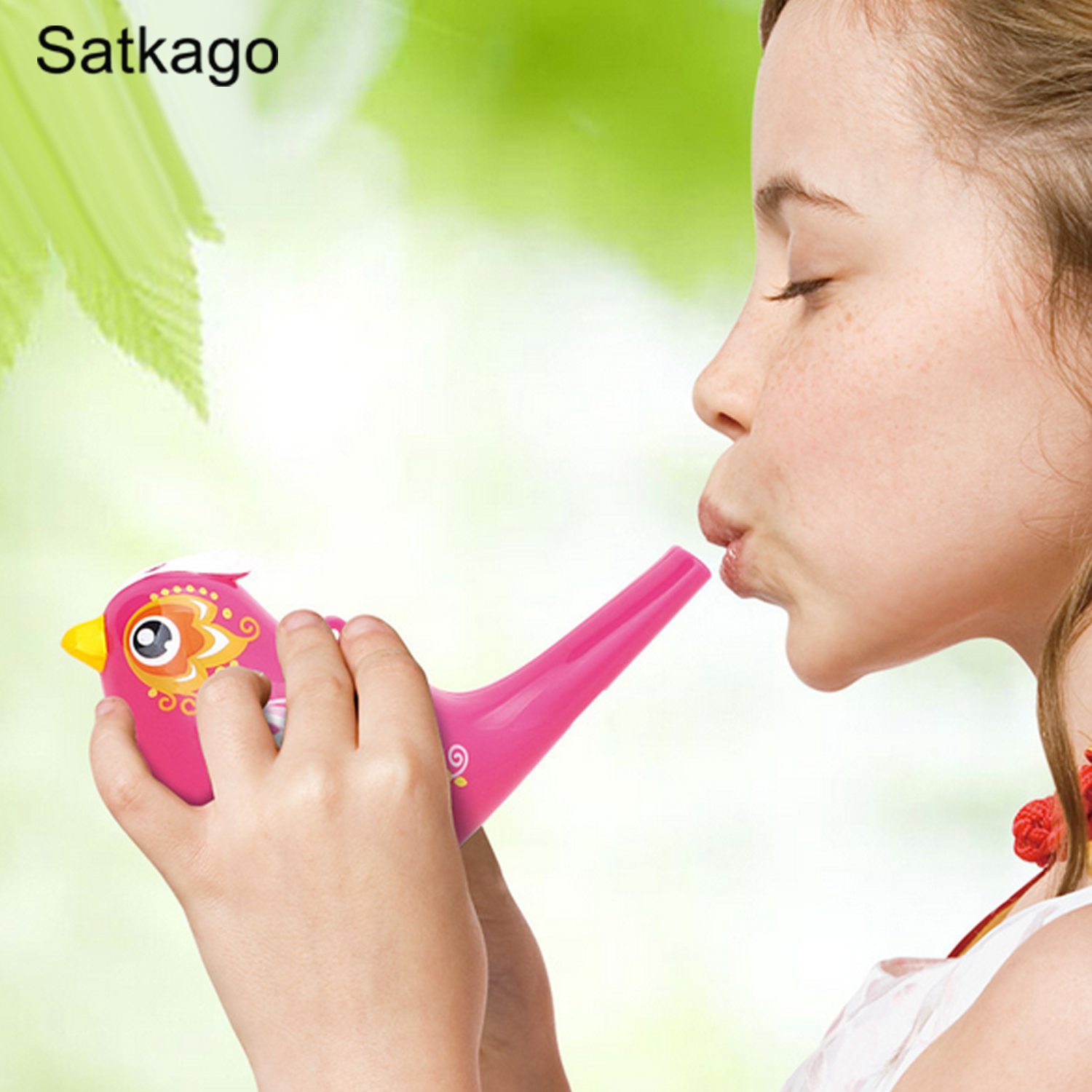 Colored Drawing Water Bird Whistle for Kid Early Learning Educational Children Bath Toy Musical Instrument Random Color