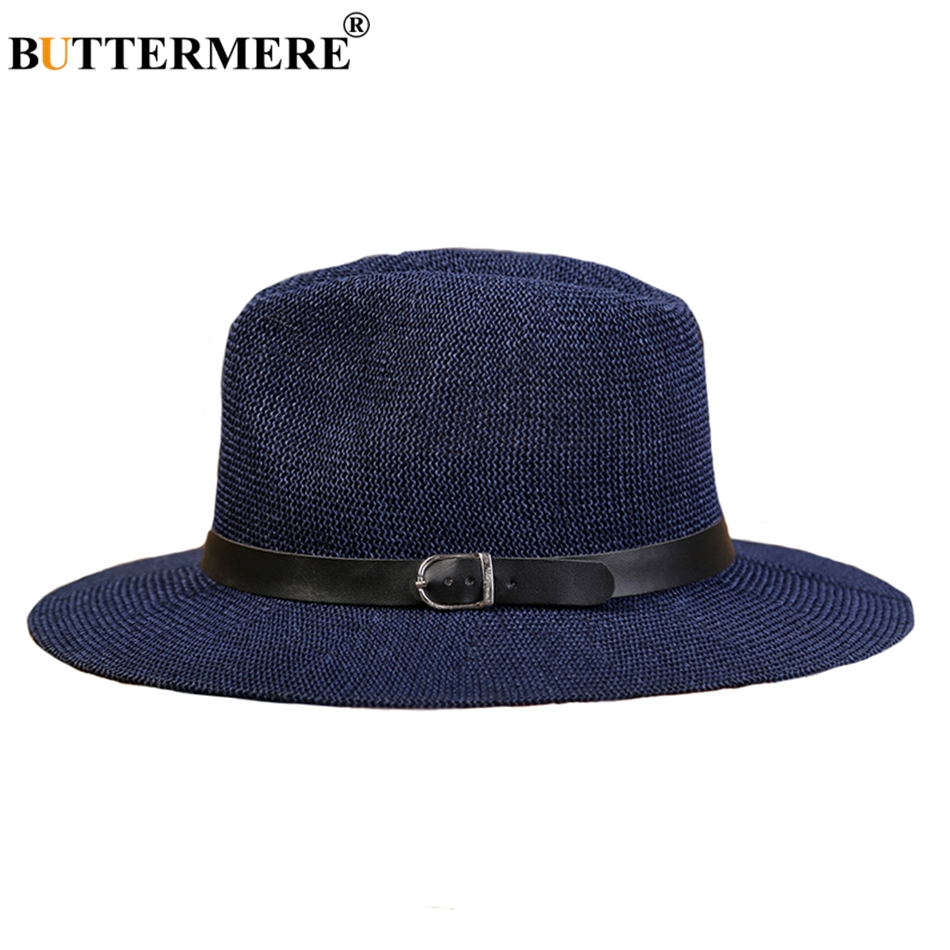 BUTTERMERE Panama Straw Hats Womens Navy Blue Classic Casual Beach Hats With Belt Wide Brimmed Summer Spring Sun Caps Male