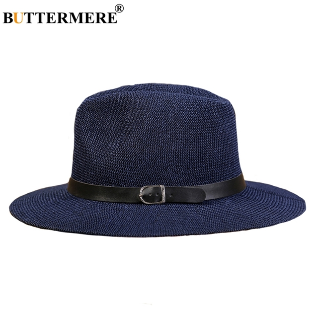 97aef7f821142 BUTTERMERE Panama Straw Hats Womens Navy Blue Classic Casual Beach Hats  With Belt Wide Brimmed Summer Spring Sun Caps Male