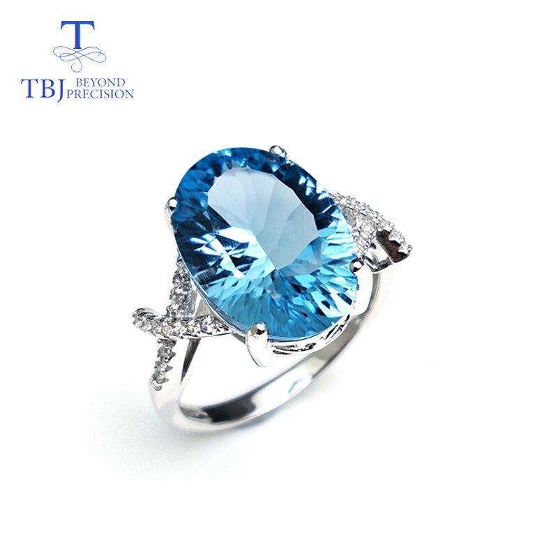 Tbj, 100% naturel bleu ciel topaze ovale 10*14mm concave coupe pierre gemme anneau simple en 925 bague en argent sterling, meilleur cadeau pour les filles