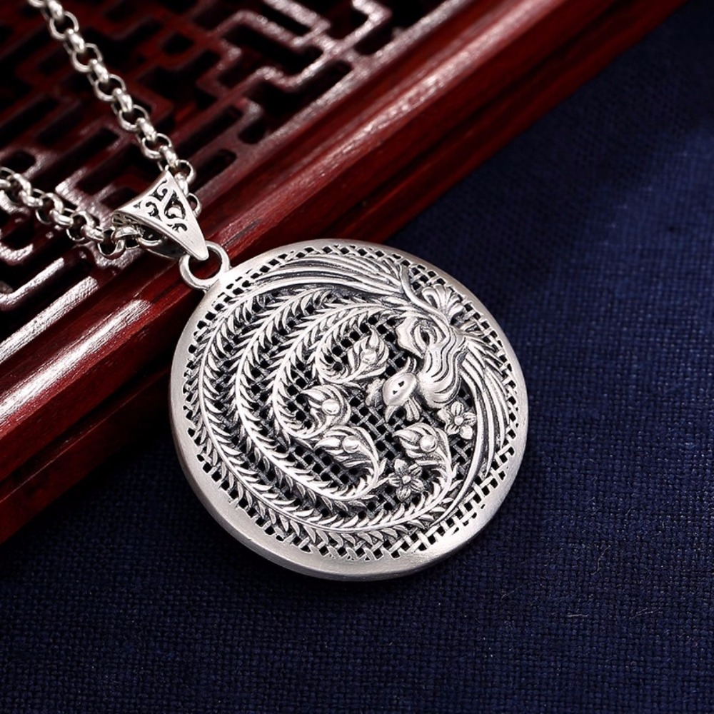 New Sterling Silver 990 Pendant Women Great Phoenix Round Fashion Pendant levmoon medium blue circle print bean bag chair kids bed for sleeping portable folding child seat sofa zac without the filler