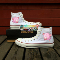White Converse All Star Girls Boys Shoes Pokemon Chansey Egg Design Hand Painted Sneakers High Top Skateboarding Shoes Man Woman