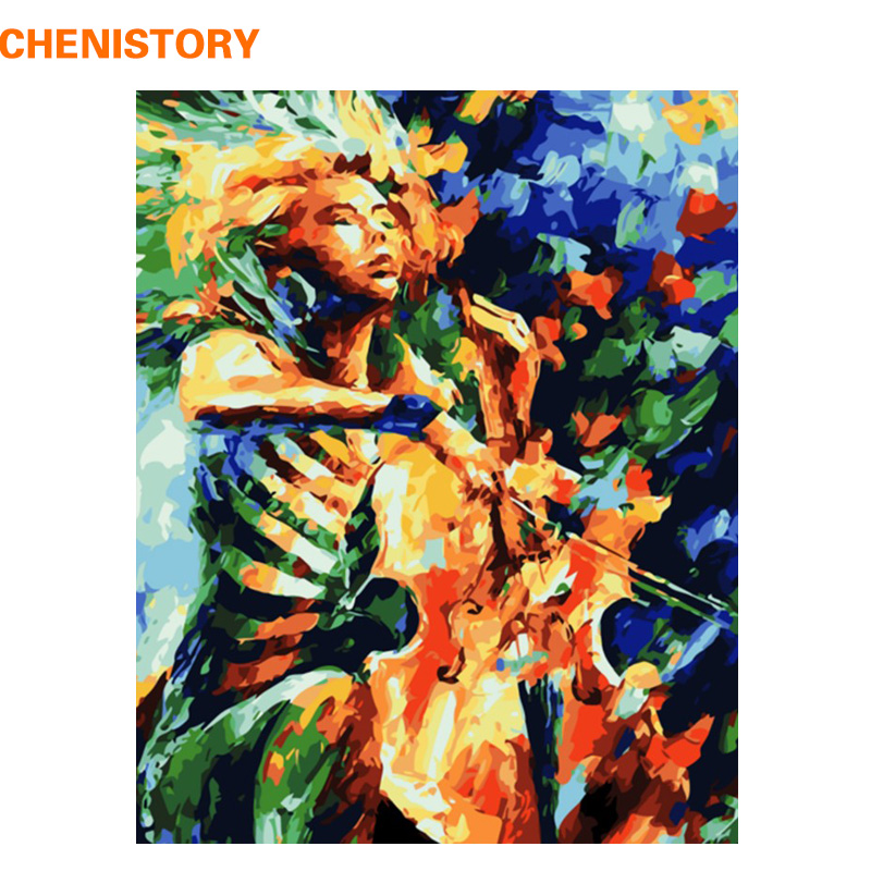 Compare Price To Wall Painting Kit: Aliexpress.com : Buy CHENISTORY Abstract Play Cello DIY