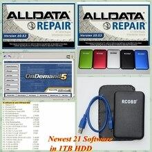 Всего 21 в 1 Alldata 10,53+ Митчелл, по заказу+ ATSG+ яркая мастерская+ Митчелл Ultramate тяжелый трек с ТБ HDD