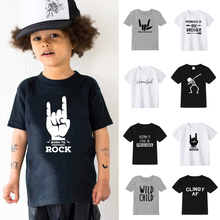 купить 2-10T T-Shirts For Boys Girls  Short Sleeves Printed Cotton T Shirt For Kids Clothes Children Summer Clothes Baby Girl Tops Tees дешево