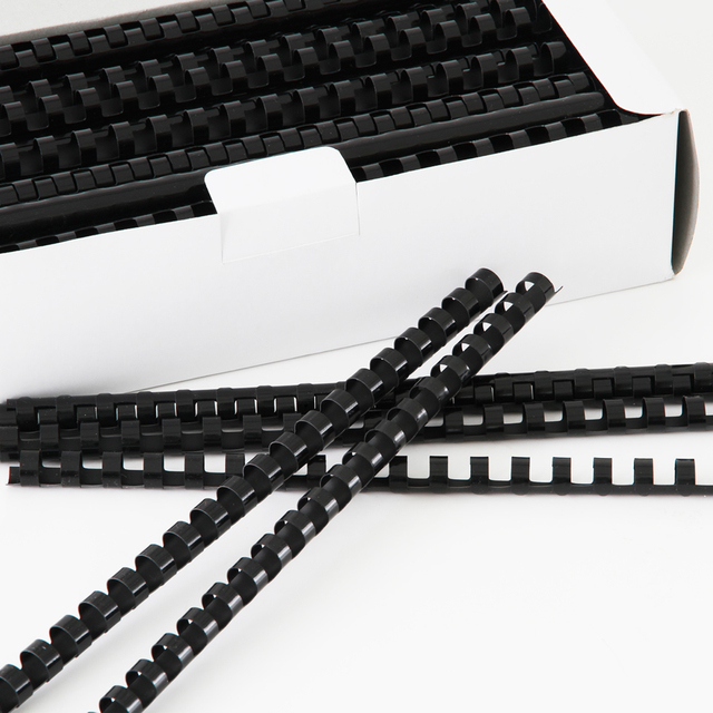 Plastic Comb Binding Spines, 8 mm Diameter, Black, Blue, 50 Sheets, 21 Rings, 100 Pcs, Round Back, Office &School Supplies