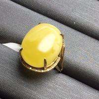 Customized Size Real 18K Rose Gold AU750 100% Natural Amber Jewelry Gemstone Anillos Diamonds Rings for Women Fine Ring