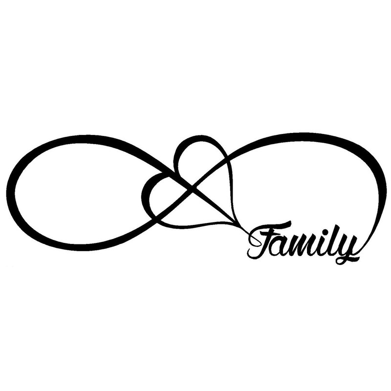 20X7CM FAMILY Love Heart Infinity Forever Symbol Vinyl Decals Car Sticker Car-styling S8-0199