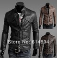Mens Stand Collar Leather Jackets Autumn New Men's Leather Jacket Locomotive Fashion Casual Style Slim Fit Leather Clothing