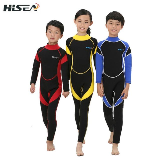 2908ab513e 2.5MM Neoprene Wetsuits Kids Swimwears Diving Suits Long Sleeves Boys Girls  Surfing Children Rash Guards