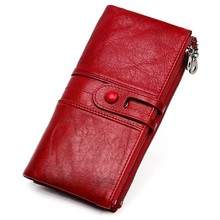 Women Purses Wallet Clutch-Bags Card-Holder Long Genuine-Leather High-Quality Ladies