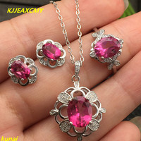 KJJEAXCMY boutique jewels 925 silver inlay natural Pink Topaz Ring Pendant Earrings 3 suit send Necklace