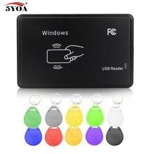 Cloner 125 KHz EM4100 RFID Fotokopi Yazıcı Teksir Programcı Okuyucu + 10 Adet EM4305 T5577 Yeniden Yazılabilir KIMLIK Keyfobs Etiketleri Kartı