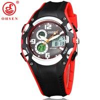 Dual Display Wristwatches OHSEN Women Quartz Diving Water Resistant Watch Sport 2016 Digital Rubber Band Analog