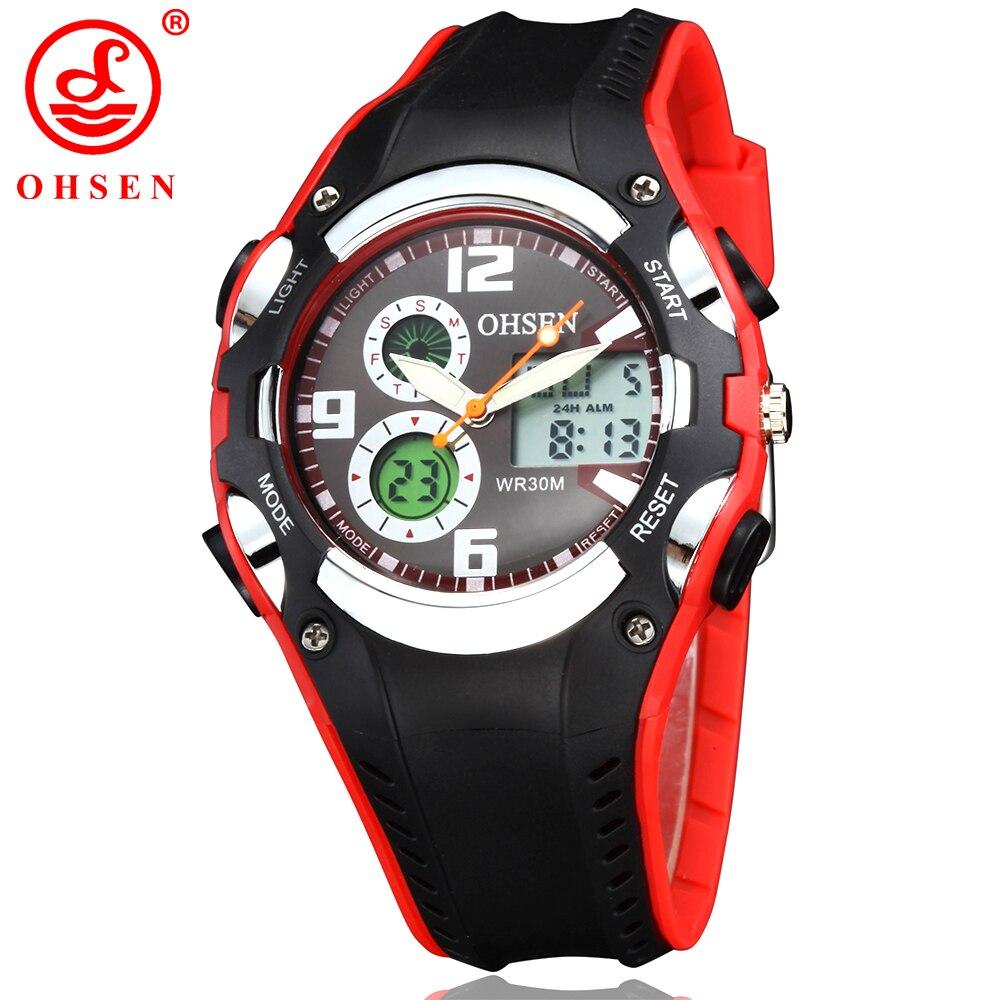 OHSEN Relogio Feminino digitālās daudzfunkcionālās Unisex sieviešu sporta pulksteņi Ūdens izturība Quartz Led Dual Display rokas pulksteņi