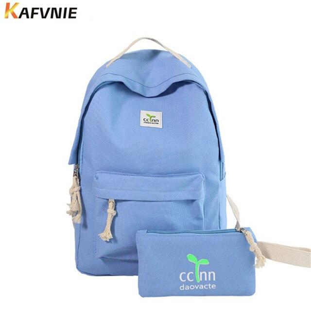 f0e170ec5 KAFVNIE 2Pcs/Set Hot sale new women Canvas Backpacks Character ladies Backpack  Fashion School bag For Teenage Girls travel bag
