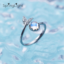 SpringLight Mermaid Foam Design Crystal Ring Real 925 Sterling Silver Blue Tail Gemstone Rings for Women Jewelry Ladies Gift
