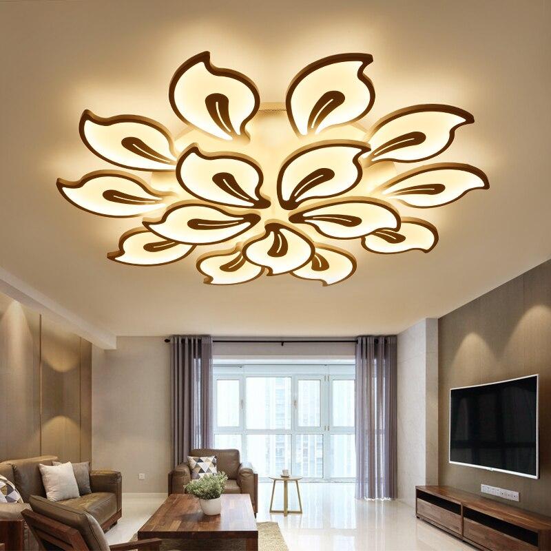 Новые современные светодио дный светодиодные люстры для гостиной спальни столовой акриловые Железный корпус домашние люстры лампы освеще...