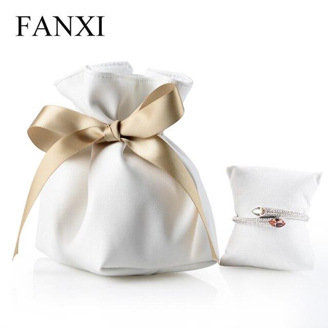 FANXI 1 PC מעודן רך עור תכשיטי פאוץ עם משי רצועת כלים צמיד שרשרת תכשיטי אריזת מתנת תיק ארגונית
