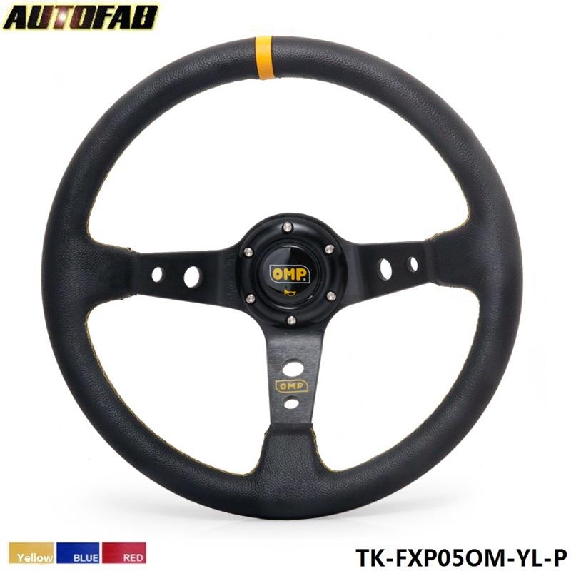Prix pour AUTOFAB-350 MM PVC Deep Dish Dérive Sport Volant de Course En Aluminium Cadre (jaune rouge bleu) AF-FXP05OM-P