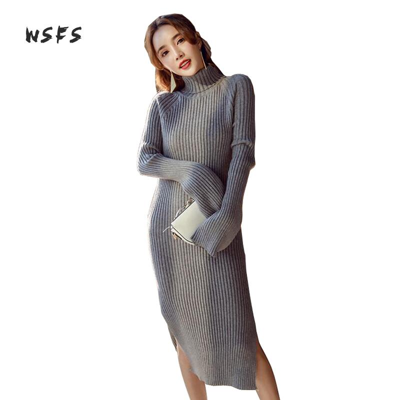 Wsfs Winter Women Dresses Knitted Black Gray Long Flare Sleeve Vintage Bandage Dress Lady Sexy Party Bodycon Vent Midi Dress цена
