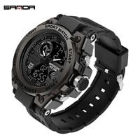 Sanda Men's Watches Black Sports Watch LED Digital 3ATM Waterproof Military Watches S Shock Male Clock 2019 Relogios Masculino
