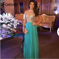 Sexy Bust Open Chiffon Halter Crystal Dress Evening Party Turquoise 2019 Prom Dresses