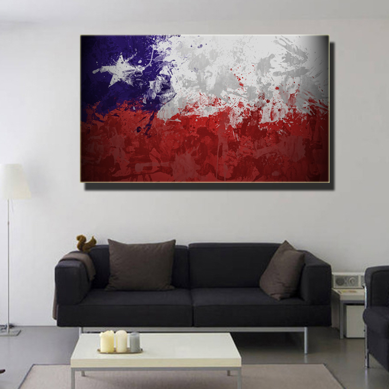 ✓Chile Flag Canvas Grunge Wall Art Print On canvas painting Modern ...