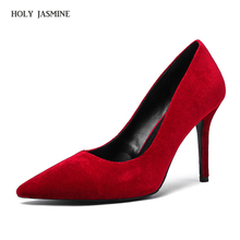 2018 New Women's Shoes fashion sexy high heel shoes pointed toe woman pumps velvet stiletto heels party dress Red black shoes цены онлайн