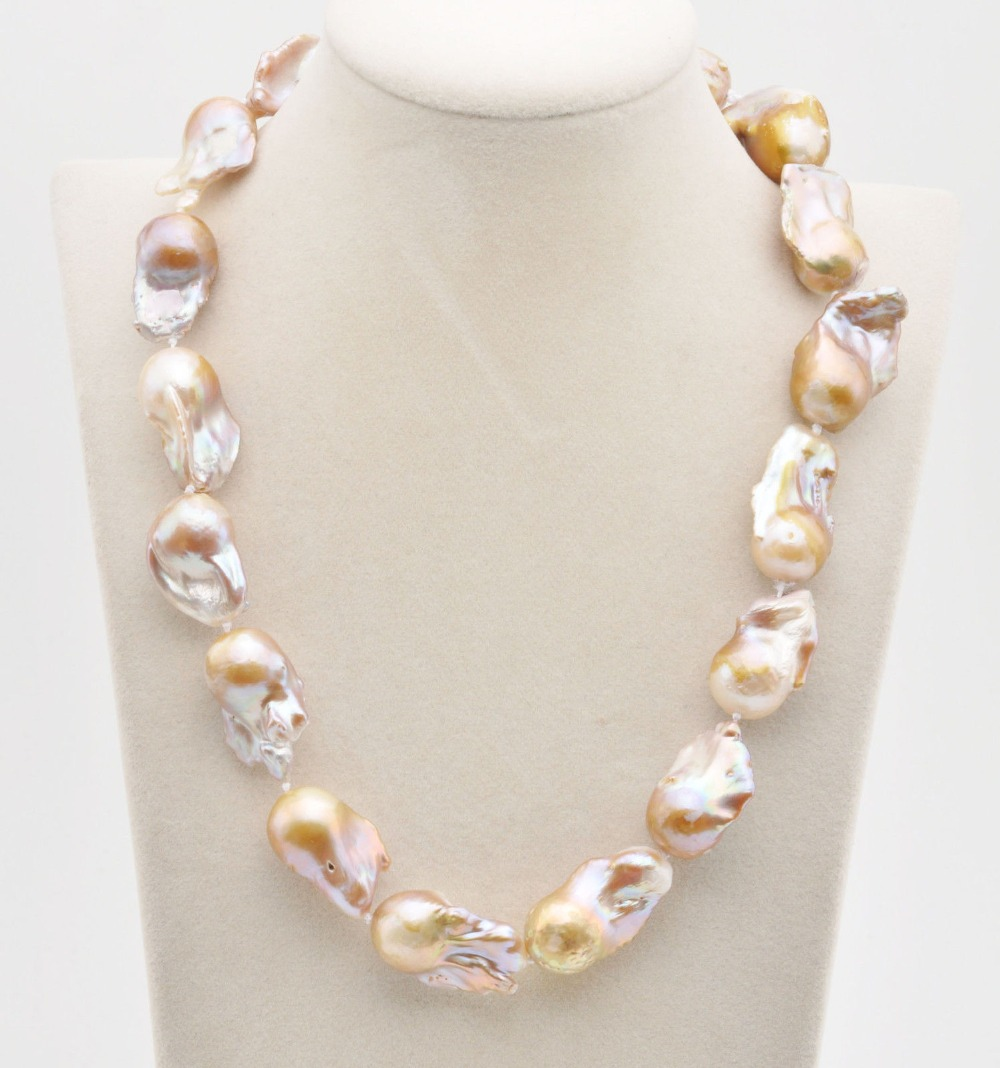 Z8548 30mm Lavender BAROQUE DROP KESHI REBORN PEARL NECKLACE Cougar CZ 20inch z3519 17 30mm white baroque keshi reborn pearl necklace
