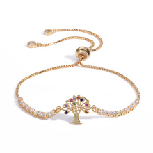 Hot Sale Pulseira Mujer Moda Clear Crystal Gold Charm Bracelets Bangles For Women Tree of Life Adjustable Bracelet Jewelry Gifts