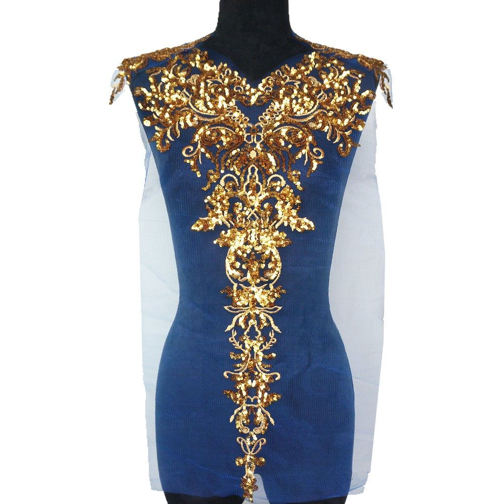 Image 3 - 1 Set Gold Sequined Appliques Red Blue Black Mesh Epaulette Embroidery Lace Fabric Wedding Sew On Patch For Dress DIY Decoration-in Patches from Home & Garden