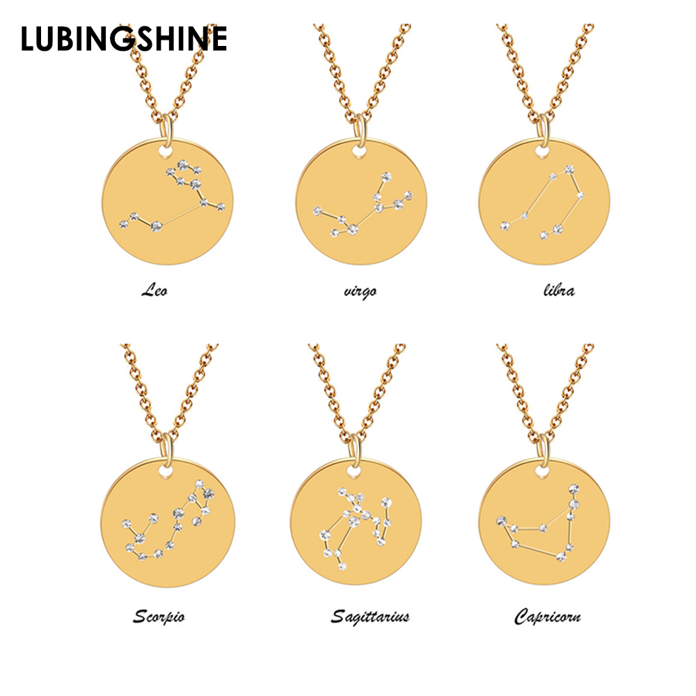 12 Constellations Crystal Round Pendant Necklace Titanium Steel Long Chains Necklace for Women Fashion Choker Jewelry collar