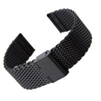 20mm 22mm Solid Milanese Mesh Stainless Steel Strap With Hook Buckle Classic Black Watch Band Straps