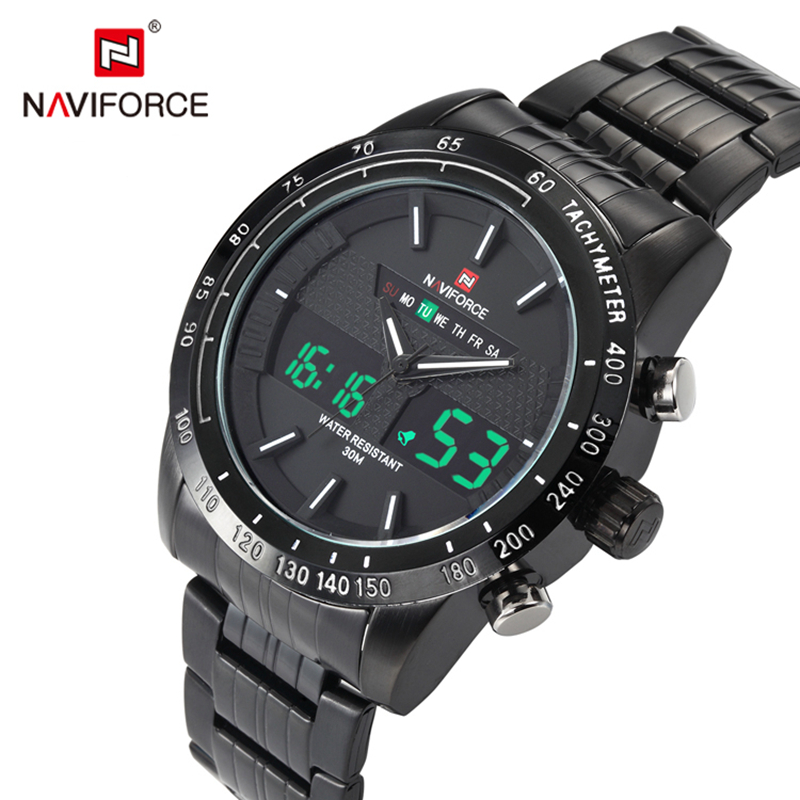 Men Sport Watch Men Full Stainless Steel Digital-Quartz Led Men Watch Waterproof Sport Wrist Watch Relojes Hombre NAVIFORCE 8ch ahd dvr h 264 1080n 4ch analog 1080p 16ch ip 1080p mini 5 in 1 tvi cvi ahd 960h ip hdmi p2p hybrid cctv dvr
