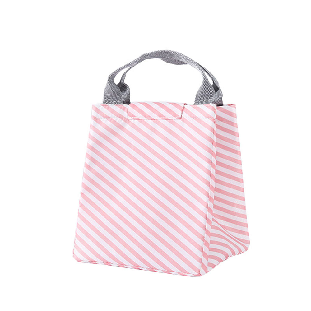 Сумка для хранения пикника Оксфорд Фламинго узор Сумочка еда путешествия фрукты теплоизоляция сумка водостойкая Bento - Цвет: pink stripes