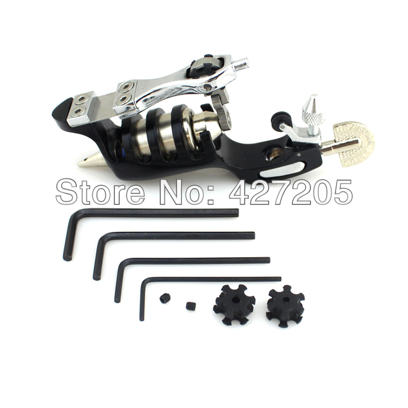 ФОТО Black Sunskin Rotary Motor Tattoo Machine Gun Shader Liner Supply + 50 PCS Tattoo Needles MIX Size Free Shipping
