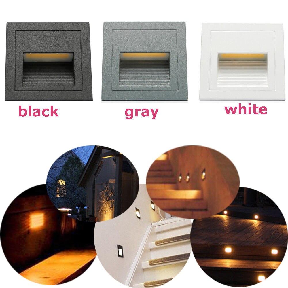 8 pièces 3 W extérieur mur plinthe escalier étape lumière couloir lampe d'angle en aluminium encastré repose-pieds + boîte intégrée blanc chaud blanc froid