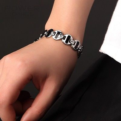 Power Ionics Womens Titanium Power Healing Crystal Magnetic Bracelet Wristband Balance Energy PT037 цена