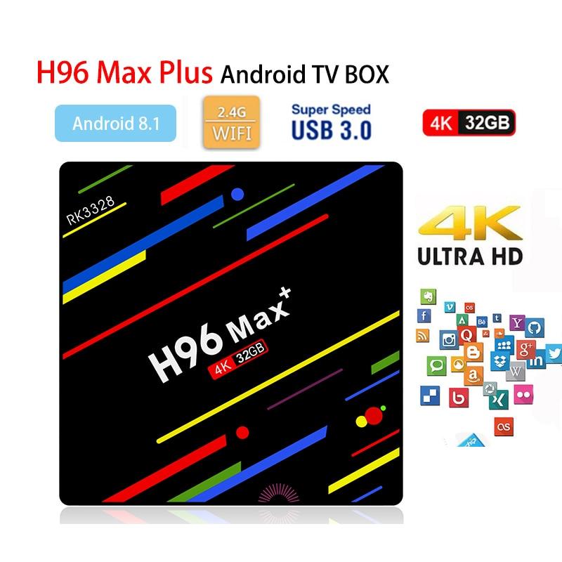 Android 8.1 H96 MAX Plus+ Smart TV Box 4GB+32GB 4K HDR10 USB3.0 Mini PC RK3328 Quad Core 2.4G WIFI Media Player Set top box H96 android 8 1 tv box 2018 h96 max plus rk3328 quad core 4gb ddr3 32gb emmc wifi 2 4g 4k hd smart android tv box