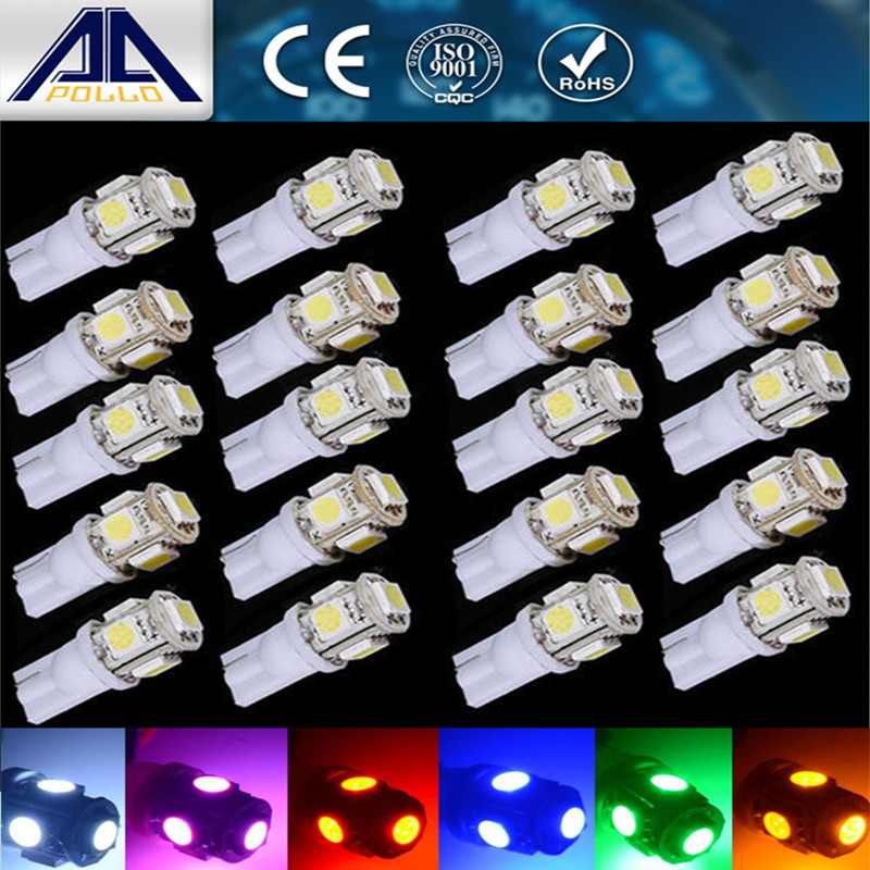 Newest 20pcs T10 DC12V 5050 5 SMD 194 168 W5W car styling 5smd LED Interior Lamp work Wedge Tail Lamp Xenon parking light carprie super drop ship new 2 x canbus error free white t10 5 smd 5050 w5w 194 16 interior led bulbs mar713